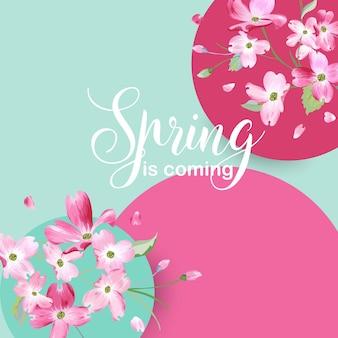 Kwiatowy projekt graficzny wiosny z kwiatami wiśni na koszulkę, modne nadruki