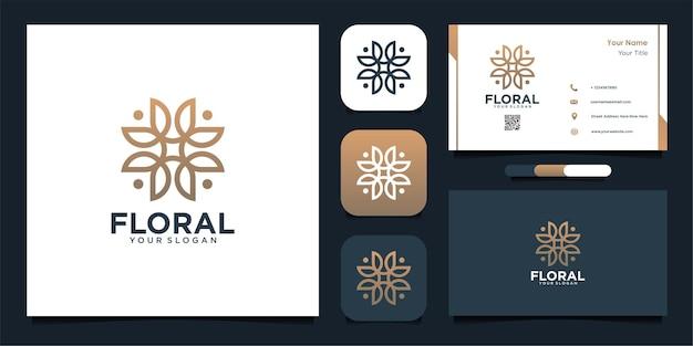 Kwiatowy projekt logo z grafiką liniową i projektem wizytówki