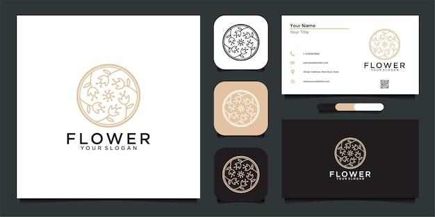 Kwiatowy projekt logo z kołem i wizytówka premium wektor