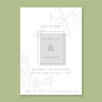 Kwiatowy prosty zapisz zaproszenie na ślub z datą