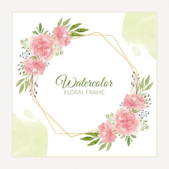 Kwiatowy rama rustykalny goździk w różowym stylu przypominającym akwarele