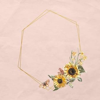 Kwiatowy rama wektor z akwarela słonecznika i motyla na różowym tle