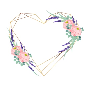 Kwiatowy rama z ranunculus róży i kwiatów lawendy.