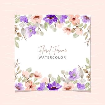 Kwiatowy ramka z różowym fioletowym akwarelą kwiatową