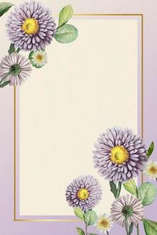 Kwiatowy ramka złota na fioletowym tle