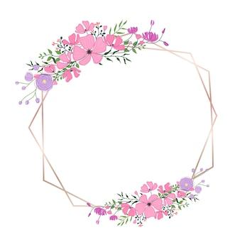 Kwiatowy ramki na zaproszenie na ślub i projekt karty z pozdrowieniami