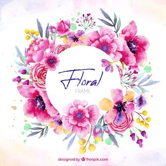 Kwiatowy ramki w stylu przypominającym akwarele