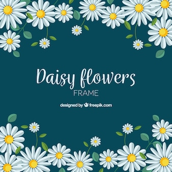 Kwiatowy ramki z płaskim stokrotki