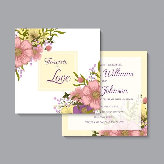 Kwiatowy ręcznie rysować szablon zaproszenia ślubne