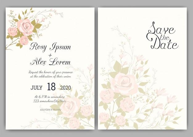 Kwiatowy ręcznie rysowane ramki na zaproszenie na ślub