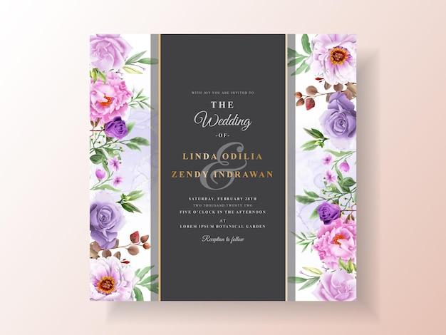Kwiatowy ręcznie rysowane szablon zaproszenia ślubne