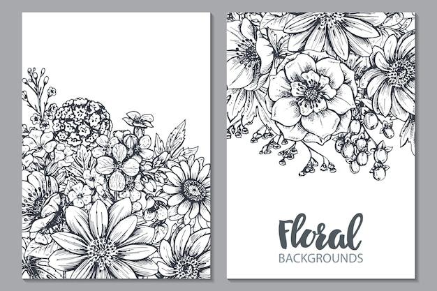 Kwiatowy ręcznie rysowane wiosenne kwiaty i rośliny w stylu szkicu.