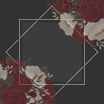 Kwiatowy rysunek granicy - czerwona ramka