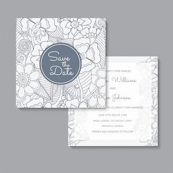 Kwiatowy ślub szablon zestaw kart kwiatowy