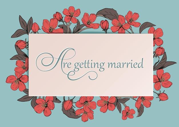 Kwiatowy ślub zaproszenia karty szablon z tekstem.