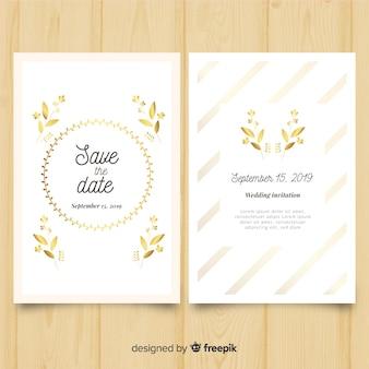 Kwiatowy ślub zaproszenie szablon ze złotymi elementami