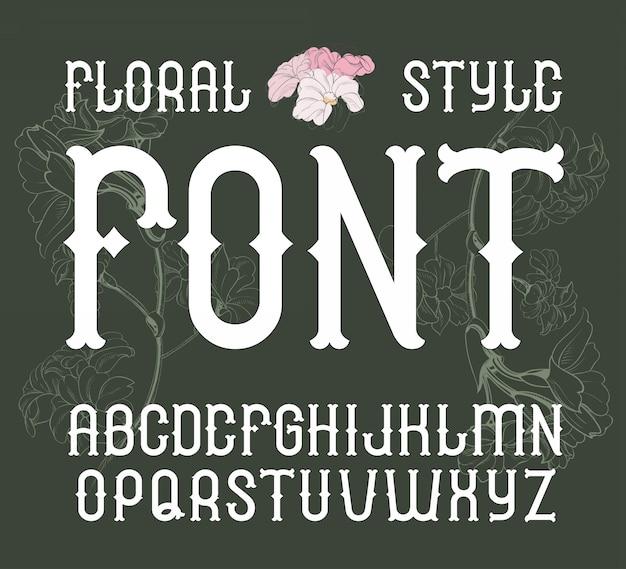 Kwiatowy styl vintage czcionki elegancki alfabet kwiat