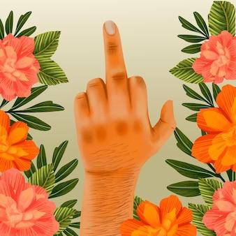Kwiatowy symbol fuck you z ludzką ręką