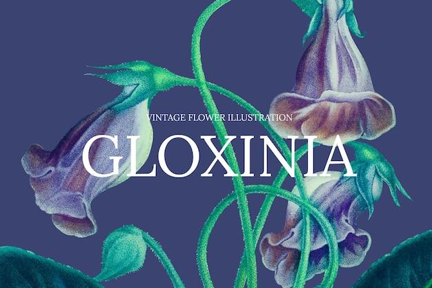 Kwiatowy szablon banera internetowego z tłem kwiatu gloksynia, zremiksowany z dzieł z domeny publicznej