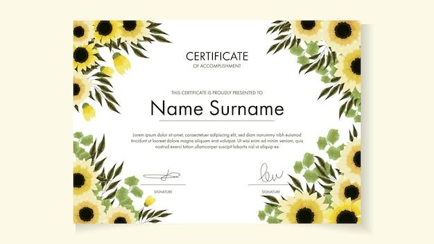 Kwiatowy szablon certyfikatu z delikatnymi romantycznymi kwiatami na warsztaty z nagrodami