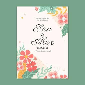 Kwiatowy szablon karty ślubnej