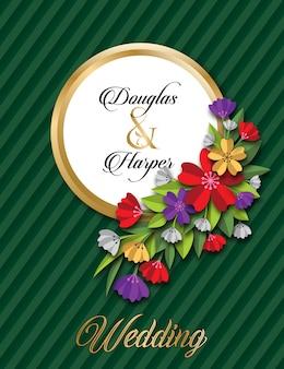 Kwiatowy szablon karty ślubu