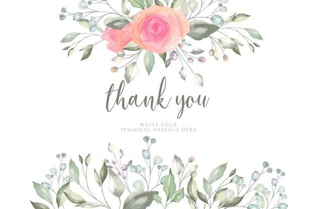 Kwiatowy szablon karty z podziękowaniami