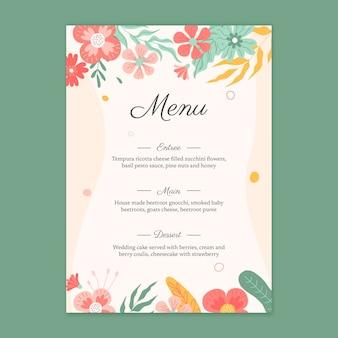 Kwiatowy szablon menu weselnego