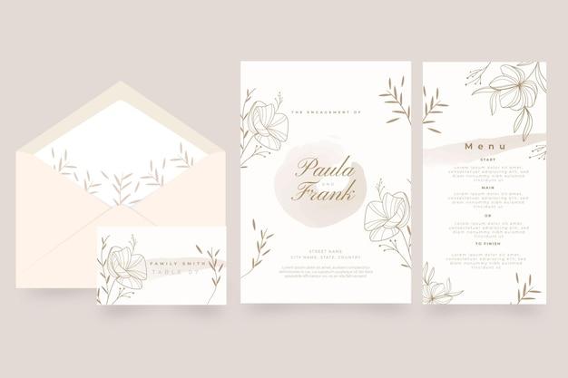 Kwiatowy szablon papeterii ślubnej