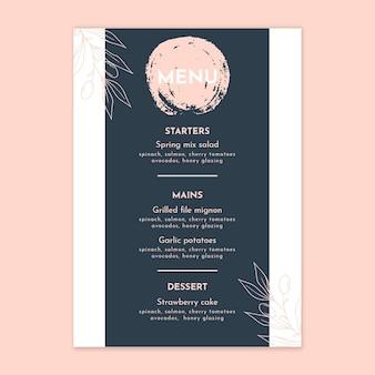 Kwiatowy szablon pionowego menu weselnego