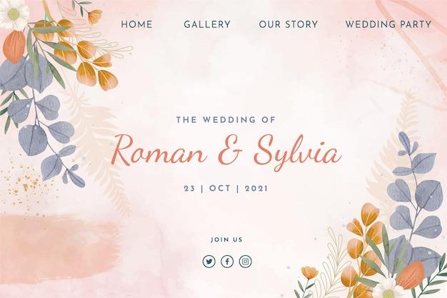 Kwiatowy szablon strony docelowej ślubu
