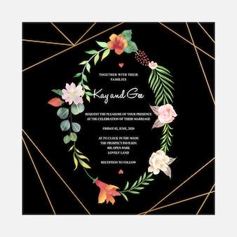 Kwiatowy szablon zaproszenia ślubne z dekoracją bukiet kwiatów