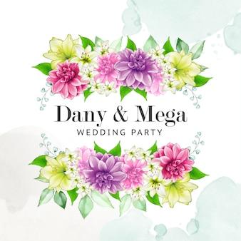 Kwiatowy szablon zaproszenia ślubne