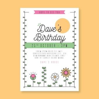 Kwiatowy szablon zaproszenia urodzinowego
