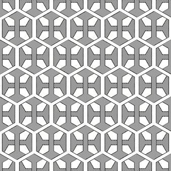 Kwiatowy sześciokątny szary i biały wzór