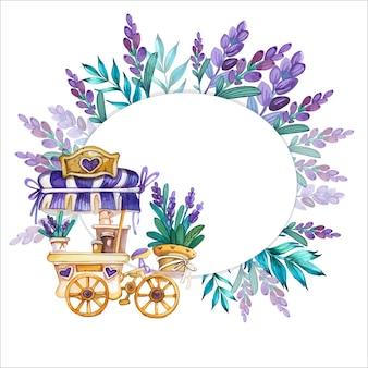 Kwiatowy tło akwarela z wózkiem do kawy i lawendą