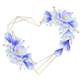 Kwiatowy tło ramki z krokusy kwiaty