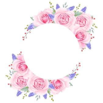 Kwiatowy tło ramki z różową różą i kwiat muscari