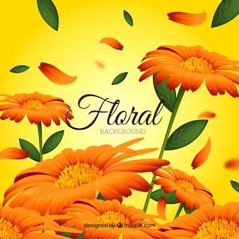 Kwiatowy tło w realistycznym stylu