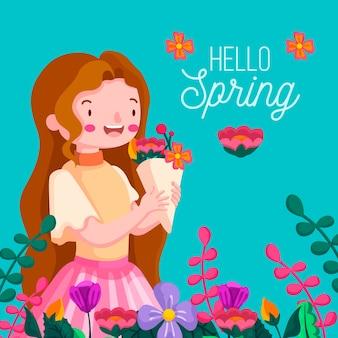 Kwiatowy tło wiosna cześć z dziewczyną