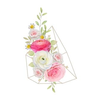 Kwiatowy tło z różowym kwiatem jaskier i różanymi kwiatami w terrarium