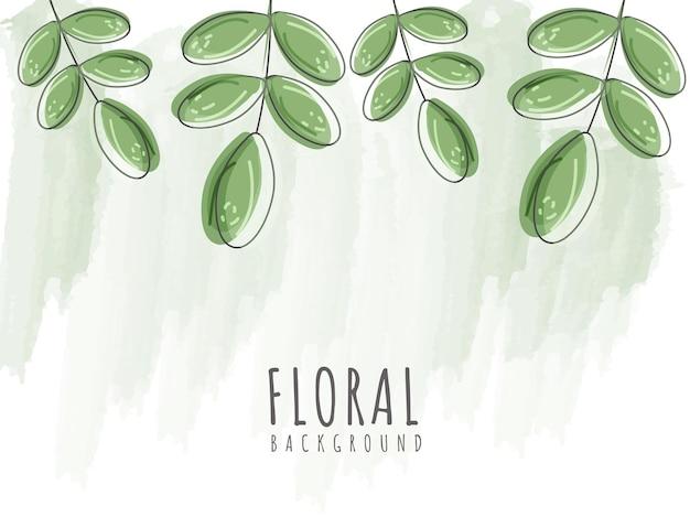 Kwiatowy tło z zielonym efektem pędzla i liśćmi.