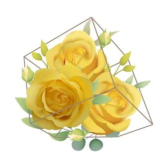 Kwiatowy tło z żółtymi różami w terrarium