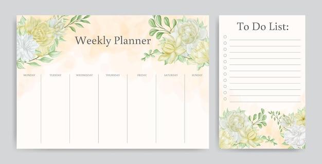 Kwiatowy tygodniowy planer i szablon listy zadań