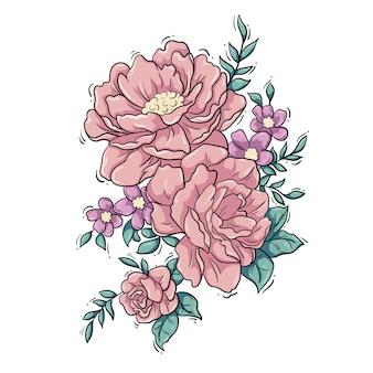 Kwiatowy układ piwonii