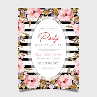 Kwiatowy valentine party plakat
