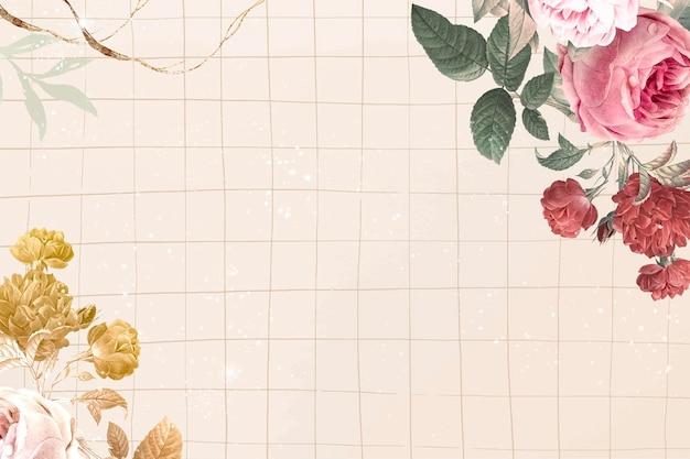 Kwiatowy wektor estetycznej granicy, zremiksowany z klasycznych obrazów w domenie publicznej