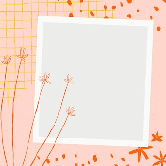 Kwiatowy wektor ramki do zdjęć z kwiatowymi doodles na różowym tle estetycznym