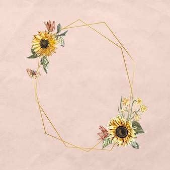Kwiatowy wektor ramki z akwarelą słonecznika i motyla na różowym tle