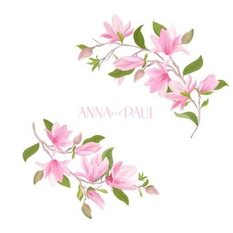 Kwiatowy wesele rama, boho kwiat magnolii akwarela szablon. karta z pozdrowieniami wektor zaproszenie. nowoczesny pastelowy wzór botaniczny z kwiatami, liśćmi, kwiatami